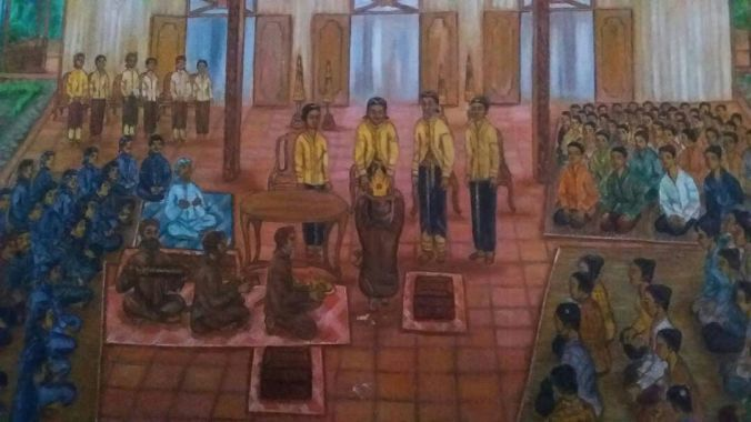 Lukisan penyerahan mahkota Binokasih oleh empat kandaga lante